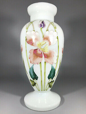 French Art Nouveau Opaline Vase 1880-1900 with Enamel Flowers