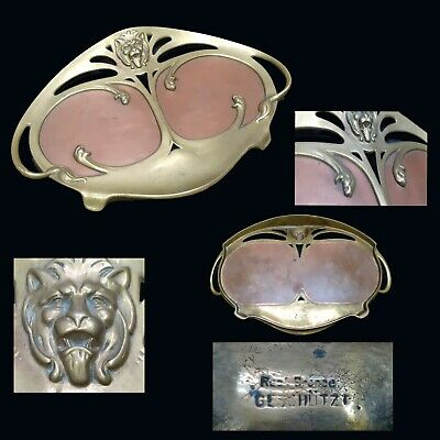 Art Nouveau bronze tray card holder lion Geschützt two metals combined