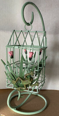 "New 12"" Frog Metal Tulips Bird Cage Shaped Candle Holder Frogs"
