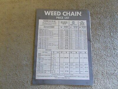 Vintage 1959 Weed Tire Chain Price List Chart Single Paper Ad Car Mud Highway