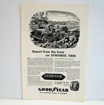 Vintage 1944 Goodyear Chemigum Tires Ad Shows Willys Army Jeep And Soldiers