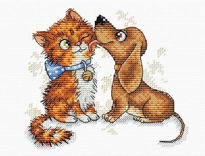 Cats In Love At Night 14ct Cross Stitch Kit OVEN//OBEH Counted 18 x 18 cm