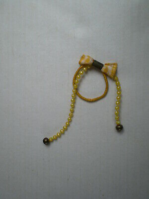 Vintage Yellow Gingham School Hair Ribbon Band Bow Girl Kids Accessories 80s