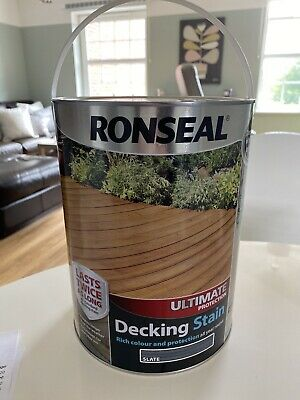 Brand New Ronseal Ultimate Protection Decking Stain In Slate Grey 5 Litres
