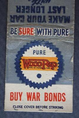 Pure Oil Gas Service Station matchbook-Buy War Bonds too-1940s World War II Era!