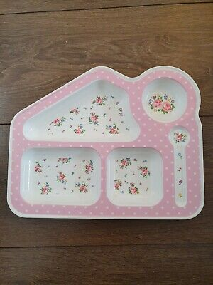 Cath Kidston melamine pink floral food plate tray weaning baby girl