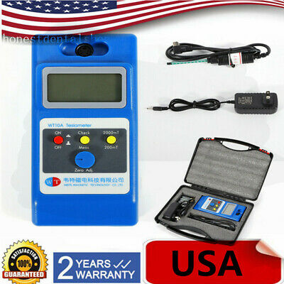 LCD Gaussmeter Tesla Meter Surface Magnetic Field Tester w/ Batteries DC Adpater