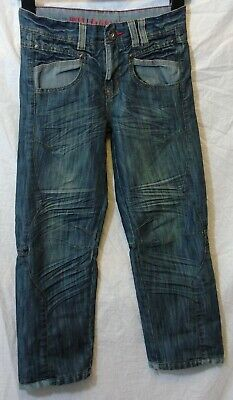 Boys TU Blue Whiskered Denim Distressed Frayed Relaxed Fit Jeans Age 8 Years