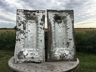 2 Ceiling Tin Panels, Vintage Reclaimed Molding, Architectural Salvage A17,