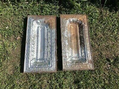 2 Ceiling Tin Panels, Vintage Reclaimed Molding, Architectural Salvage A21,