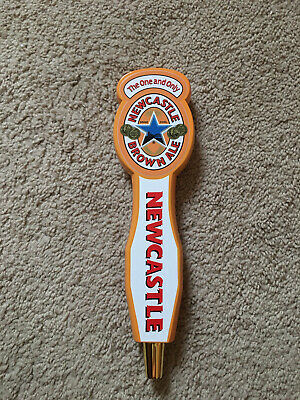 one NEWCASTLE BROWN ALE GOLDEN YELLOW WOOD TALL 11 1//2 In TAP HANDLE Details about  /