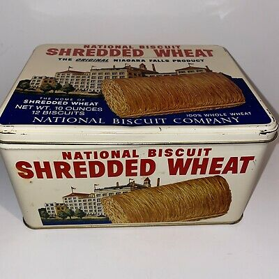 Nabisco Shredded Wheat National Biscuit Company Metal Tin Vintage 1987