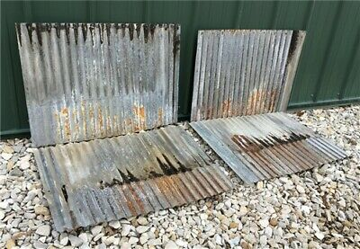 4 Sheets Corrugated Weathered Barn Tin, Farmhouse Architectural Salvage d,