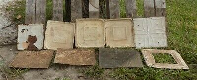 6 Ceiling Tin Panels, Vintage Reclaimed Molding Pieces, Architectural Salvage N,