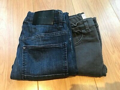 Age 10 boys jeans adjustable waists 1) blue street skinny fit H&M 2) grey Zara