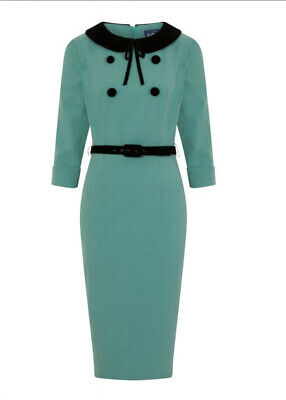 Collectif 50s Style Meadow Teal Green Office Pencil Dress