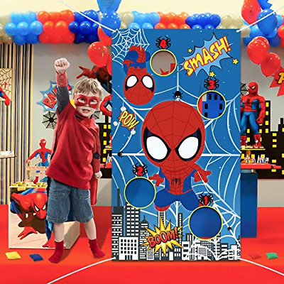 PANTIDE Spider Superhero Toss Game Banner with 4 Bean Bags, Fun Indoor Outdoor