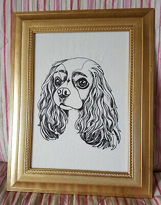 King Charles Spaniel Embroidered Picture