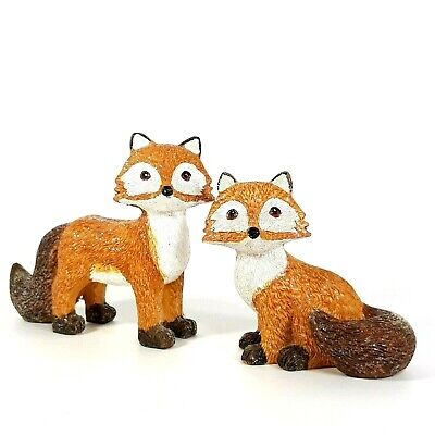 Fox Resin Figurines w/ Glitter Speckled Fur Countryside Farm Decor Lot of 2
