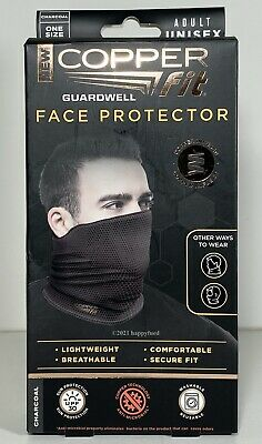 Copper Fit Adult Face Protector CHARCOAL Gaiter Guardwell Breathable Reusable