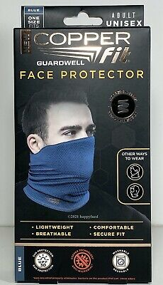 Copper Fit Adult Face Protector BLUE Gaiter Guardwell Breathable Reusable Wickin