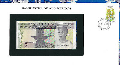 Banknotes of All Nations Ghana 1982 2 Cedis  P-18d UNC REPEATER BG0966966