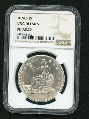 1874S Trade Dollar Unc Details NGC