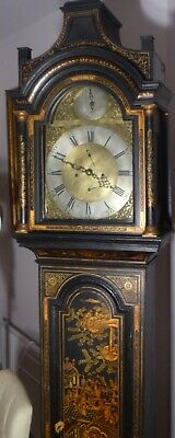 """Antique Black Japanned Lacquered """" Aberdeen """"  Longcase / Grandfather Clock"""