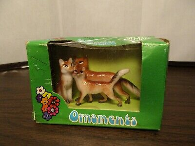 Vintage Plastic Foxes - Mother & Kits - Red Fox - Train Layout - ART MARK - IOB
