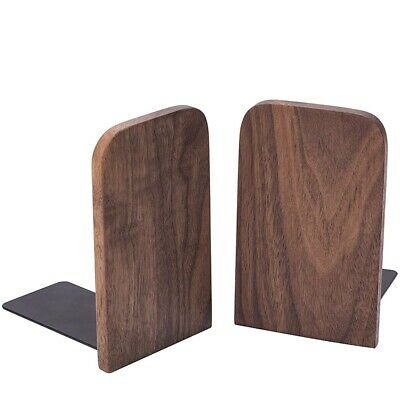 2Pcs Wooden Bookends with Metal Base Heavy Duty Black Walnut Book Stand wit H6F5