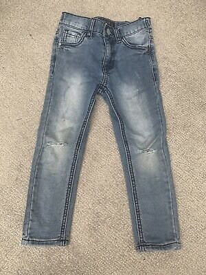 Next Boys Age 4 Years Blue Distressed Wripped Skinny Jeans