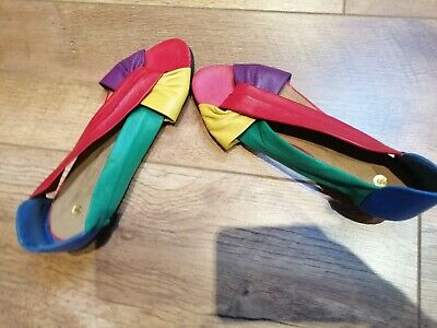 Beautiful vintage Boho style multi colour leather peep toe sandal/shoe size
