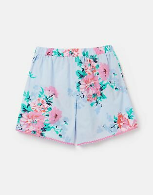 Joules Girls 210767 Woven Printed Short - Sky Blue Floral - 9Yr-10Yr