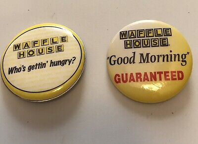Vintage Waffle House Pin Lapel Button Brooch Employee Uniform Pin Set Of 2 Rare