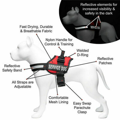Adjustable Service Dog Harness Vest Patches Reflective Small Large BALCK/RED
