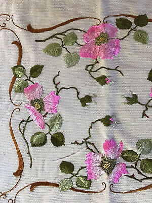 """Antique Embroidered Silk Pink Poppies Pillow Cover 18""""x22"""" Art Nouveau Mission"""