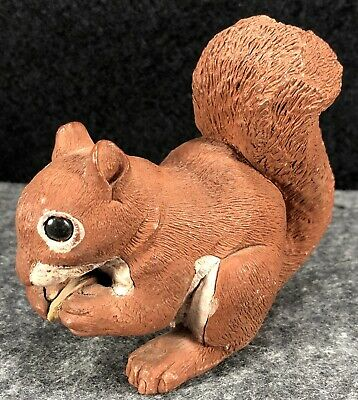 VTG Stone Critters Red Squirrel Eating Nut Figurine by Don James - Signed 1982