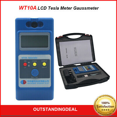 WT10A LCD Tesla Meter Gaussmeter Surface Magnetic Field Tester Ns Function ot16