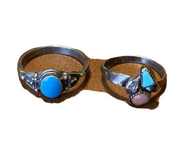 2 Vintage Southwest Sterling Silver Rings Turquoise &coral Scrap Or Not