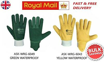 Lorry Truck Driver Fork Lift Leather Gloves Yellow Green Colour Glove Waterproof