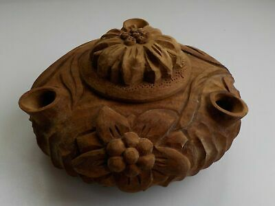 Very Old Carved Wooden Italian Friendship Grolla Cup
