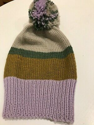 Hand knitted hat kids Purple/Green/Grey merino wool approx. 1-3 years old
