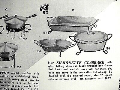 1953 McKEE Silhouette GLASS Baking Dishes Wrought Iron Stand, FOSTORIA Holly Ad