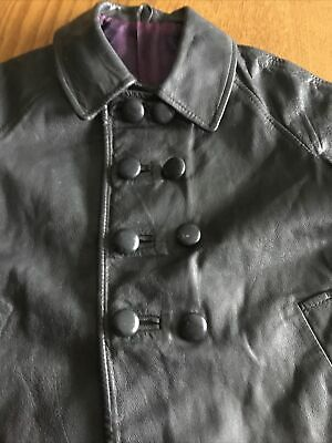 Vintage  Childs Navy Leather Coat, To Fit 2 Years Old. 1972
