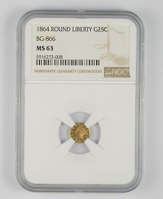 MS63 1864 Round Liberty Gold 25 Cents - BG-866 - Graded NGC *1060