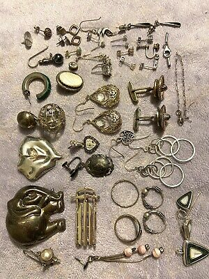 Lot Of Scrap Vintage 925 Sterling Silver/Stones/gems/ 118.6 GTW with stones