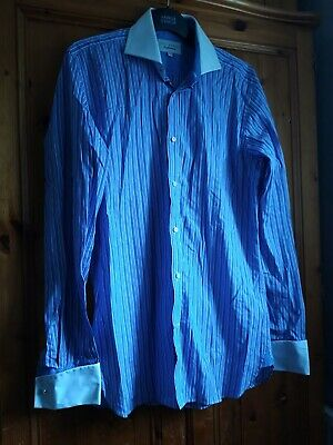 Ted Baker Endurance Blue Striped Shirt Size 15.5 NEW