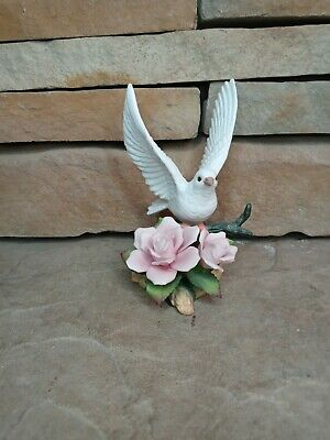Heritage House Dove On Pink Roses Figurine