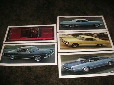 5 1965 Pontiac GTO, 2+2 Coupe, etc. Showroom Advertising Sales Posters RARE
