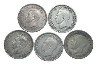 SILVER 1920s & 1940s Great Britain British 6 Pence World Coin Collection *093